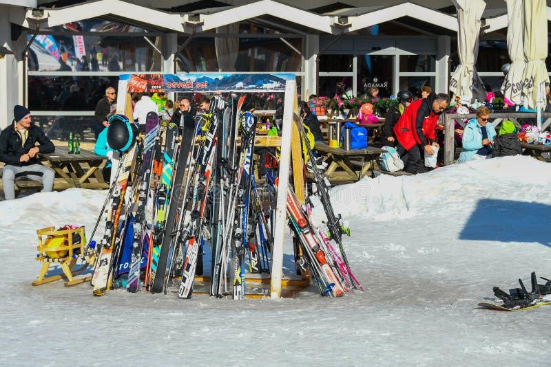 Skies stapled at the bottom of the ski piste in Kranjska gora, Slovenia stock photo