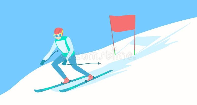 Skieur alpin sur la voie de ski illustration de vecteur