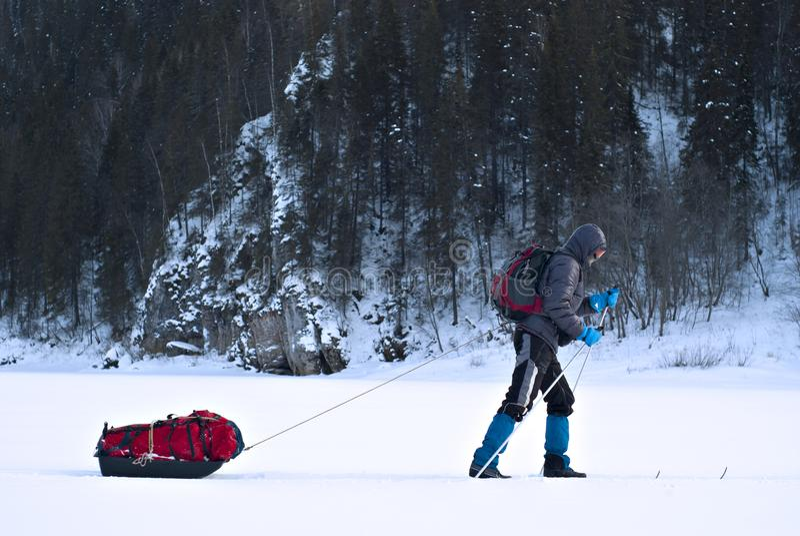 Skieur avec un traîneau de cargaison images libres de droits