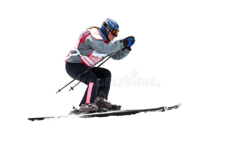 Skieur de montagne sur le chemin d'isolement images stock