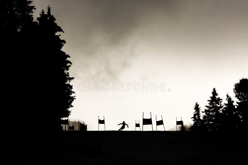 Skieur de silhouette de pente de ski images stock