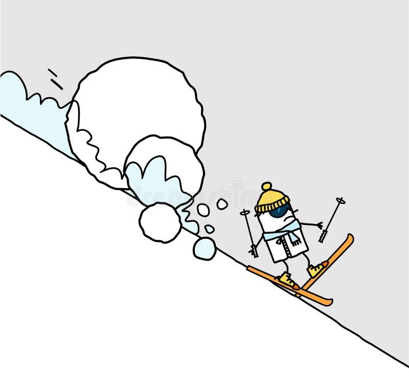 Skieur et avalanche illustration libre de droits