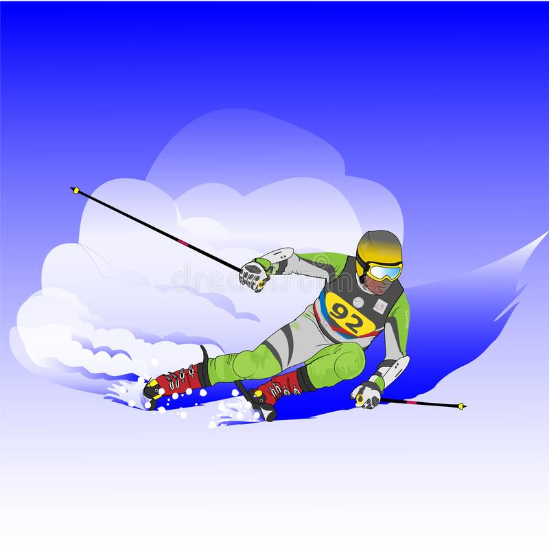 Skieur inclin? illustration stock