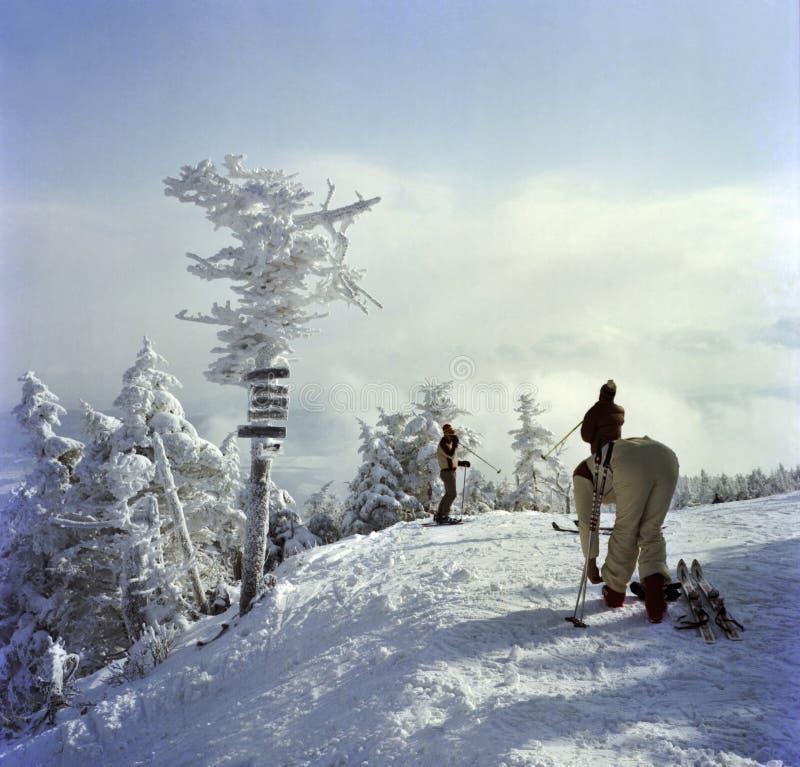 Skieurs étant prêts en haut de la montagne images libres de droits