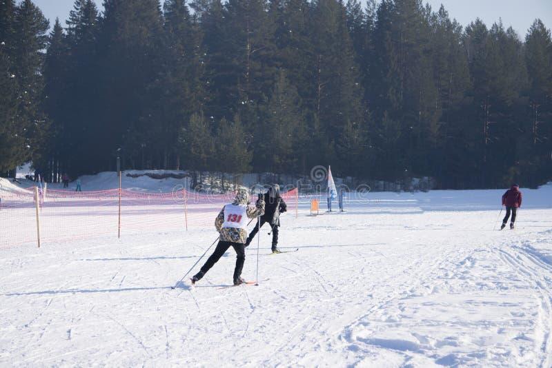 Skieurs pendant un ski de ski nordique de marathon photos libres de droits