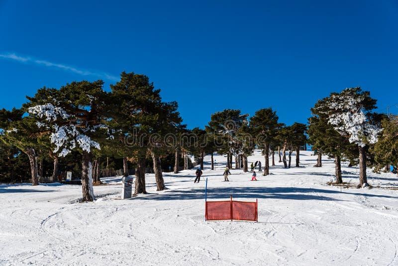 Skieurs skiant en descendant dans la station de sports d'hiver à Navacerrada images stock