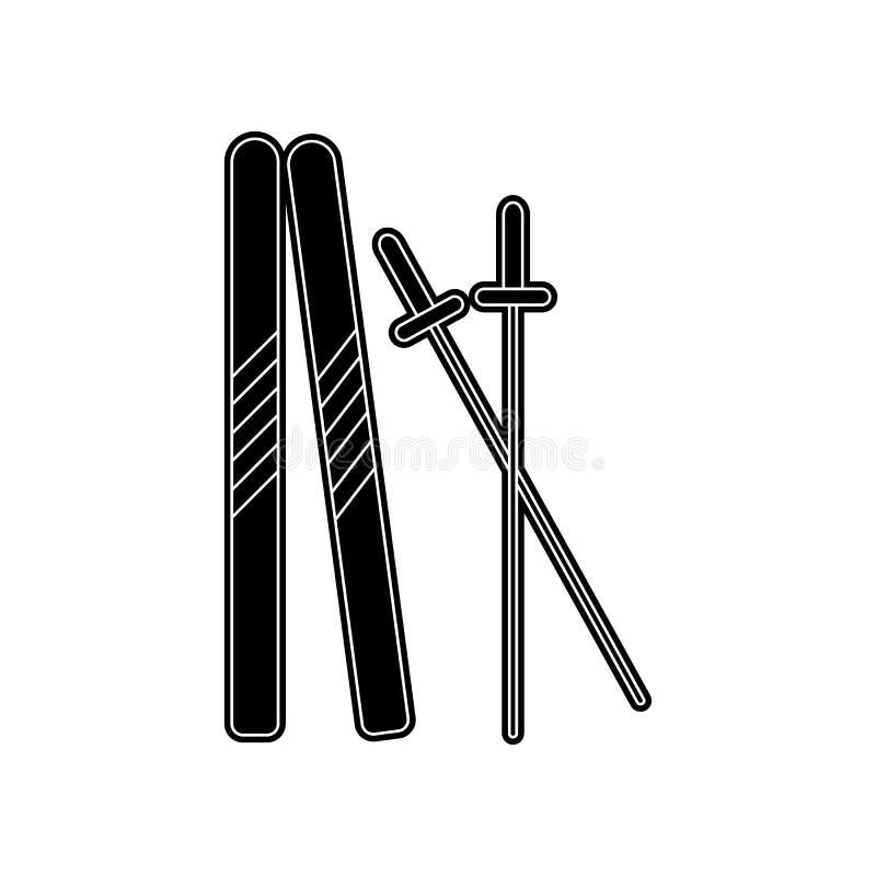 Skifahrenikone Element des Winters f?r bewegliches Konzept und Netz Appsikone Glyph, flache Ikone f?r Websiteentwurf und Entwickl lizenzfreie abbildung