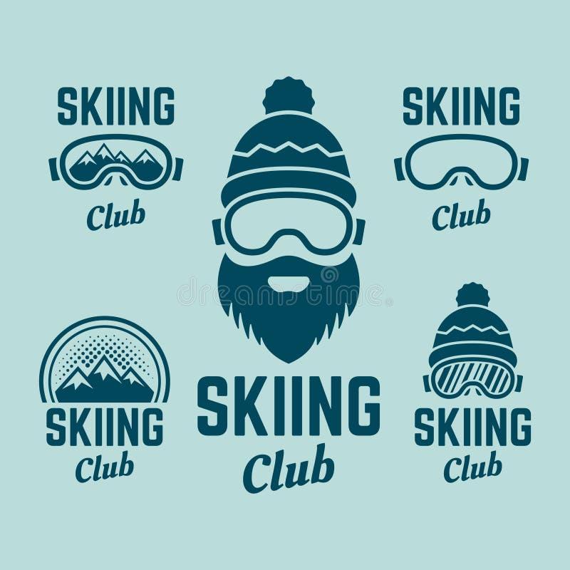 Skifahrenverein färbte Vektor farbige Embleme stock abbildung