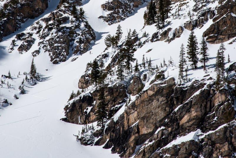 Skifahrer über Emerald Lake lizenzfreies stockbild
