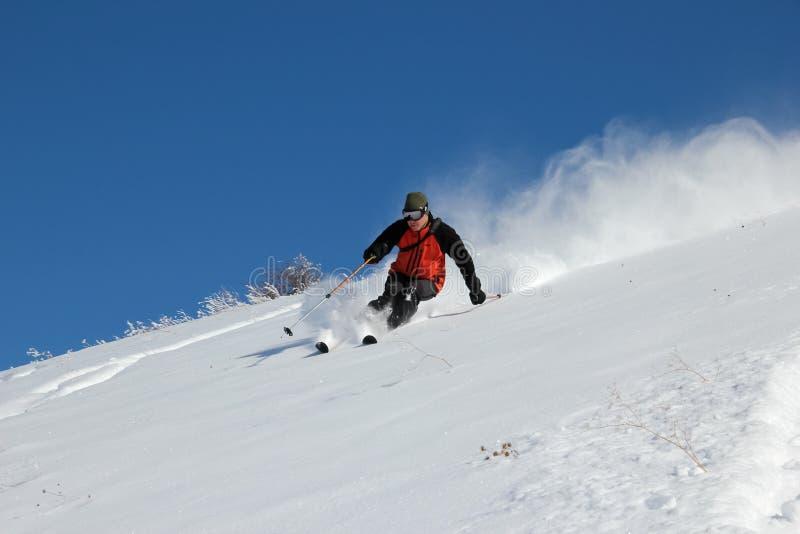 Skifahrer auf dem Hügel stockbild