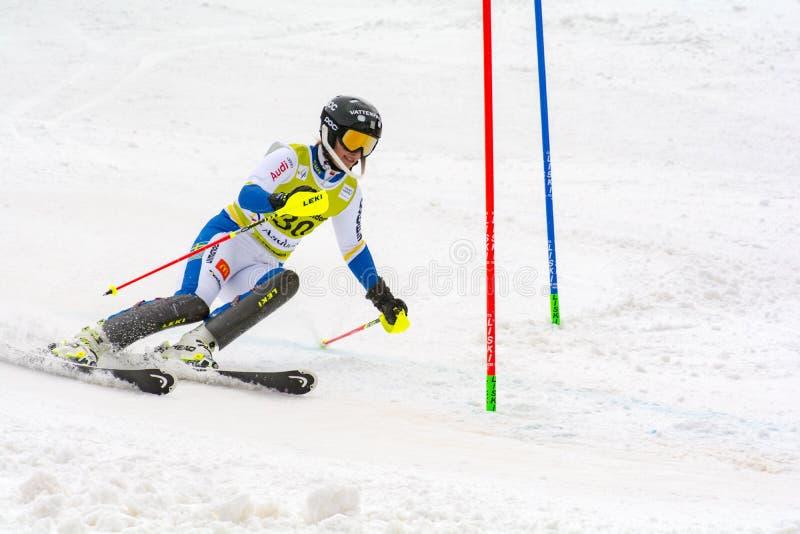 Skifahrer konkurriert herein während das des Super Audi-FIS alpine Ski World Cup Womens kombiniert am 28. Februar 2016 in Soldeu, stockfotos