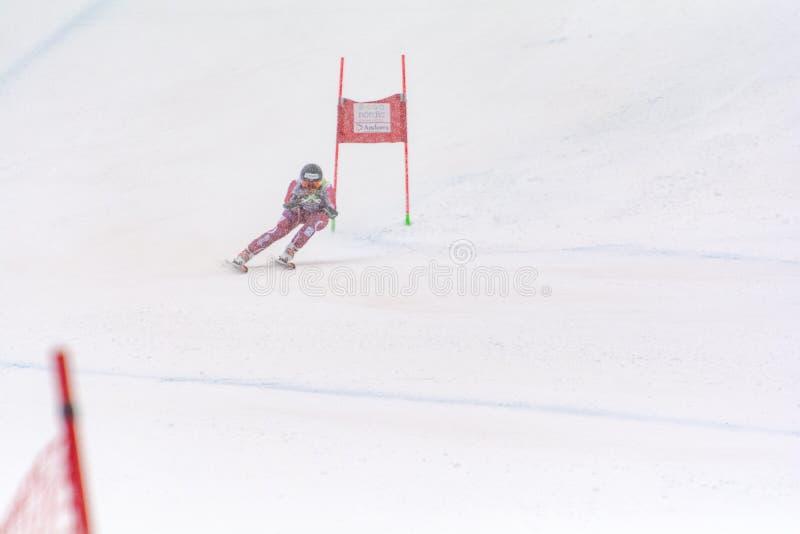 Skifahrer konkurriert herein während das des Super Audi-FIS alpine Ski World Cup Womens kombiniert am 28. Februar 2016 in Soldeu, lizenzfreies stockfoto