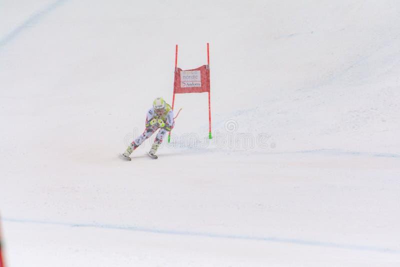 Skifahrer konkurriert herein während das des Super Audi-FIS alpine Ski World Cup Womens kombiniert am 28. Februar 2016 in Soldeu, lizenzfreie stockfotos