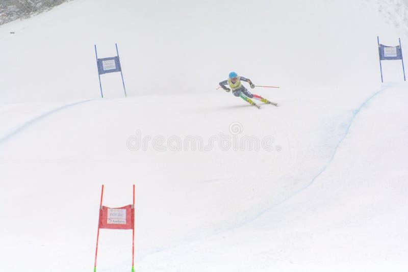 Skifahrer konkurriert herein während das des Super Audi-FIS alpine Ski World Cup Womens kombiniert am 28. Februar 2016 in Soldeu, stockbild