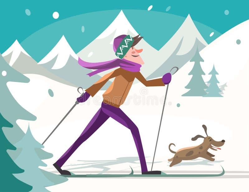 Skifahrer mit einem Hund lizenzfreies stockfoto