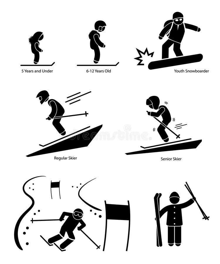 Skifahrer-Ski Skiing People Age Category-Abteilungs-WTI stock abbildung