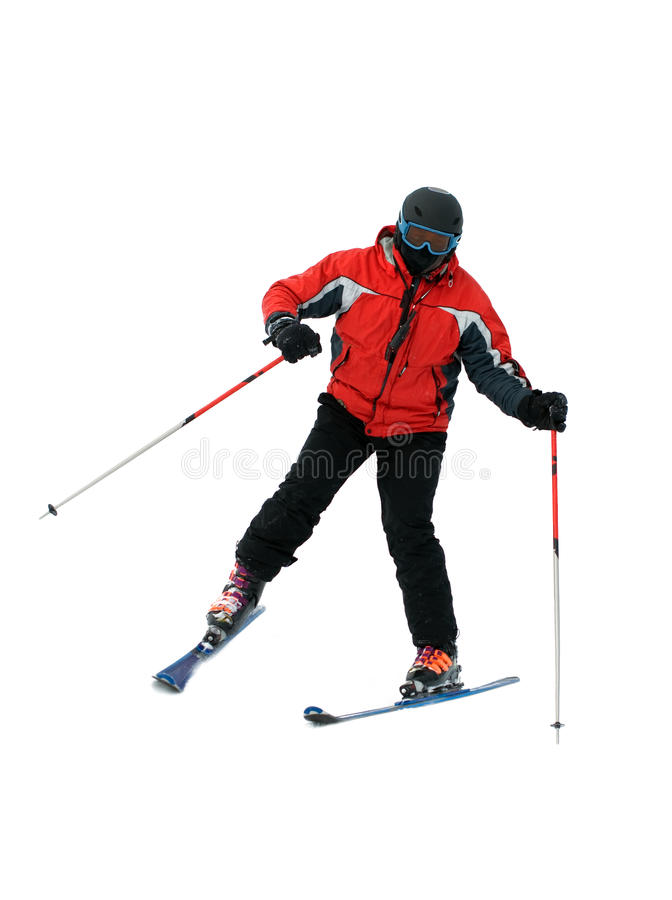 Skifahrermann getrennt auf Weiß lizenzfreie stockfotografie