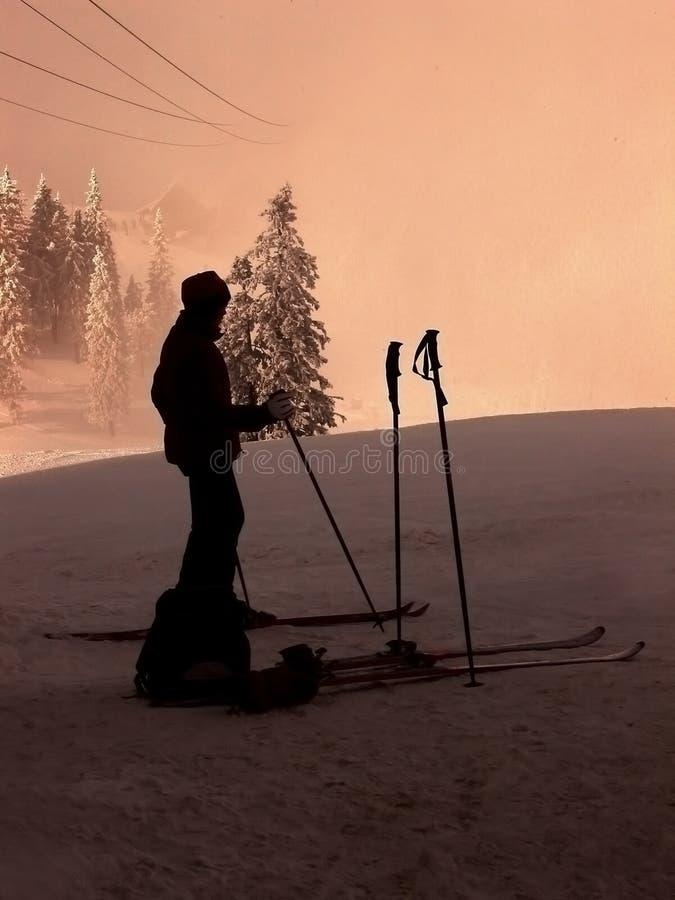 Skifahrerschattenbild stockbild