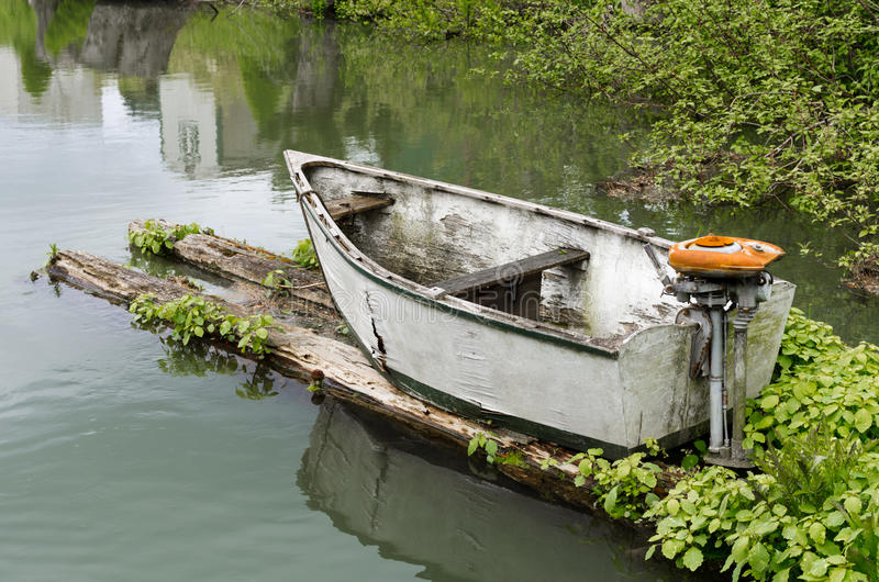 Download Skiff with outboard motor stock photo. Image of reflection - 24760330