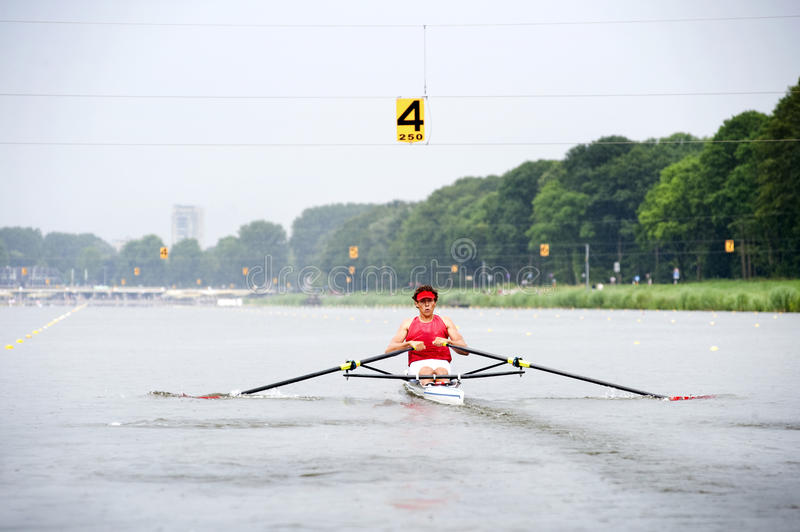 Skiff race. Man, rowing in a skiff during a race at full speed stock photography