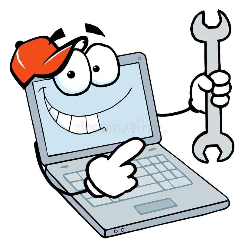 skiftnyckel för grabbholdingbärbar dator stock illustrationer