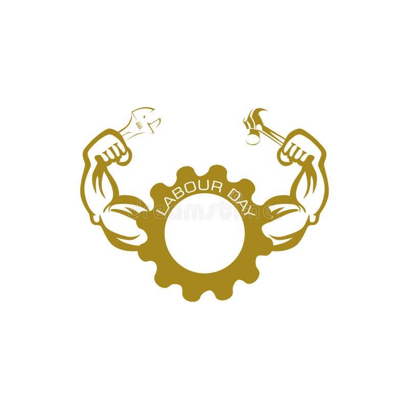 Skiftnyckel för håll för hand för logo två för arbets- dag stock illustrationer