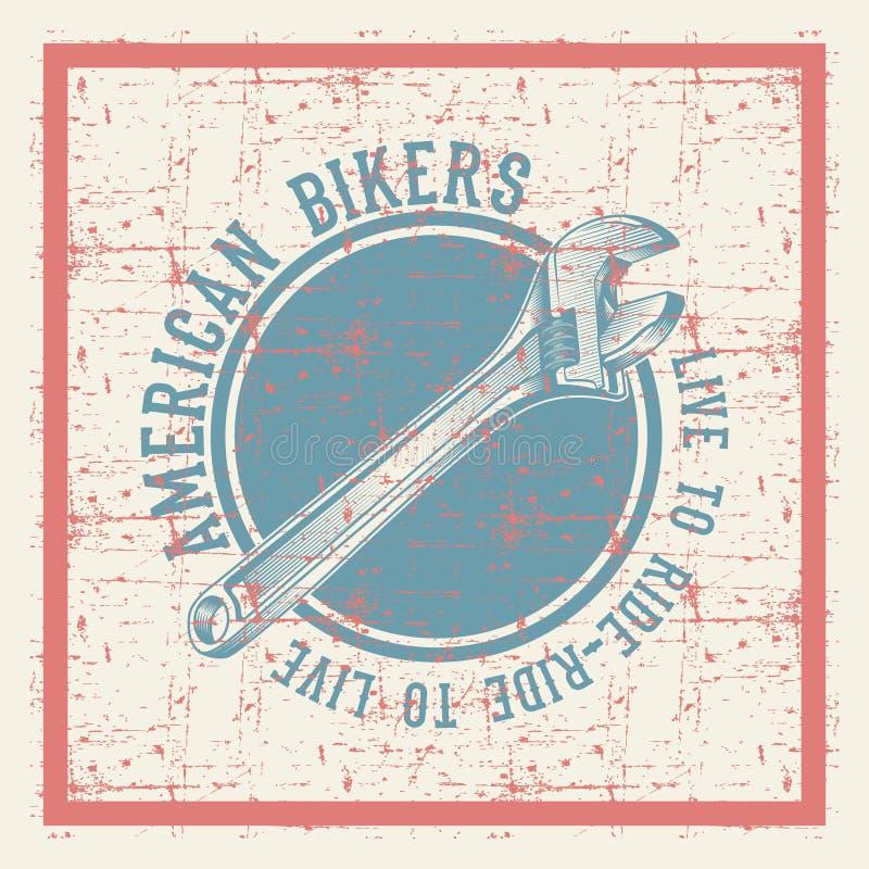 Skiftnyckel för tappninggrungestil med den amerikanska cyklistvektorn för text royaltyfri illustrationer