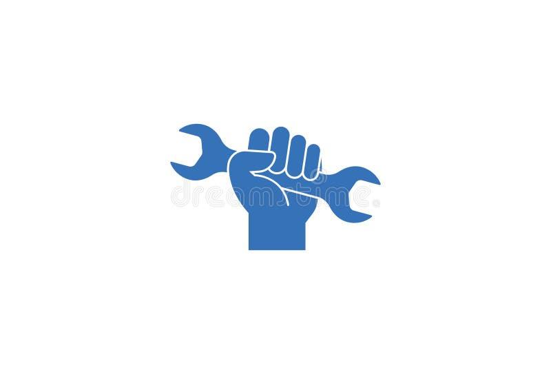 Skiftnyckel i handsymbolsdesign vektor illustrationer