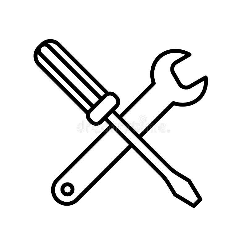 Skiftnyckel- och skruvmejselsymbol som isoleras på vit bakgrund Linjär symbol för plan vektor Översiktsdesign Symbol för tjänste- vektor illustrationer