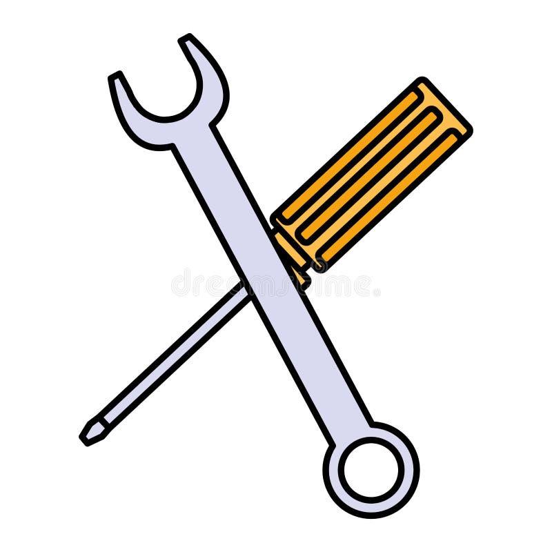 Skiftnyckeltangent och skruvmejselhjälpmedel royaltyfri illustrationer