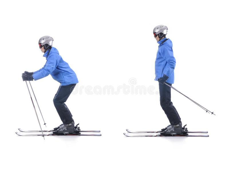 Skiier demonstrate how to push away in skiing. Sliding. Skiier demonstrate how to push away in skiing. Sliding at the flat surface royalty free stock image