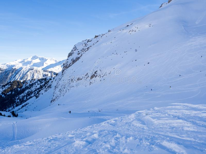 Skiing with amazing view of french famous mountains in beautiful winter snow 3 vallees France, Meribel. 2018. Blue sky and a lot o stock photos