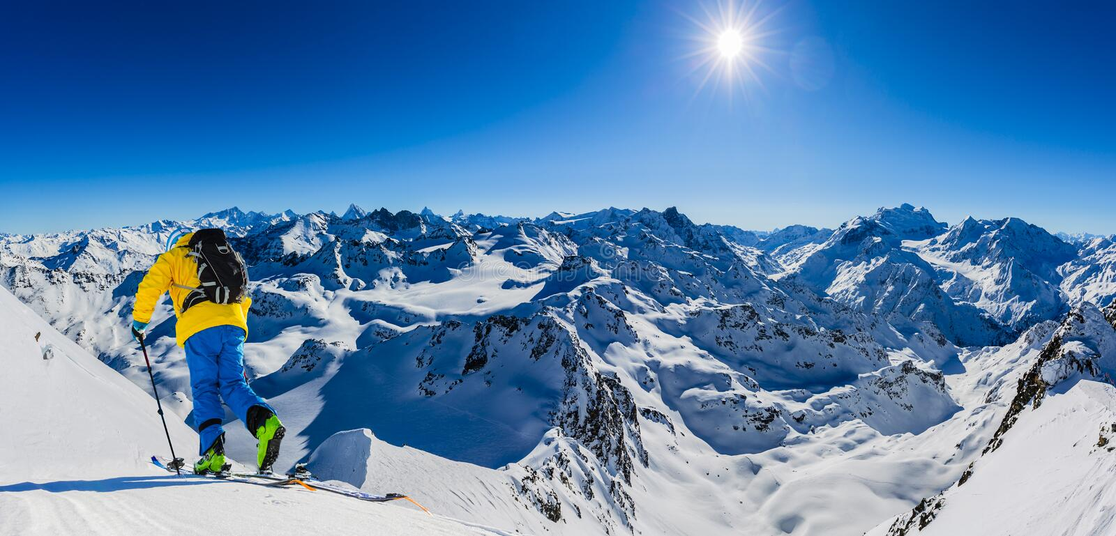 Skitouring with amazing view of swiss Alps stock image