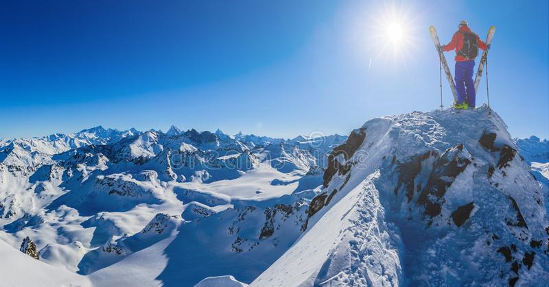 Skiing with amazing view of swiss famous mountains in beautiful winter snow Mt Fort. The matterhorn and the Dent d`Herens. In th. E foreground the Grand Desert stock image