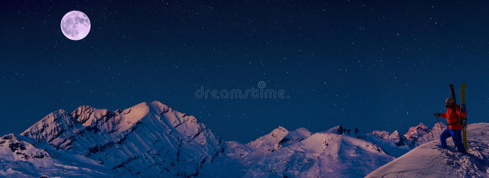 Skiing with amazing view of swiss famous mountains in beautiful winter snow  Mt Fort. The matterhorn and the Dent d`Herens. In th stock photography