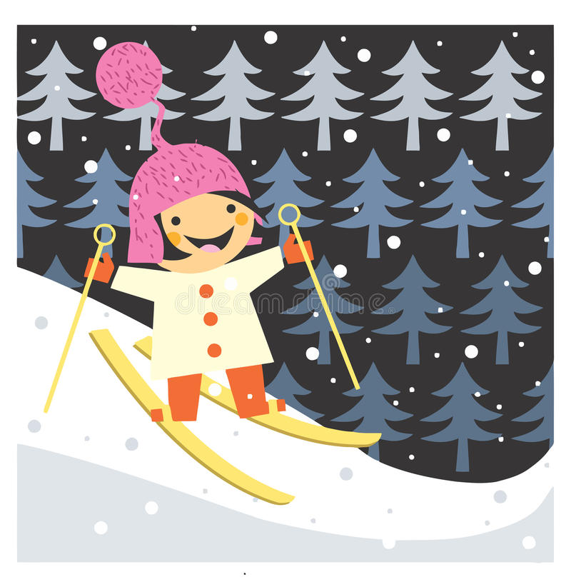 Skiing boy stock photo