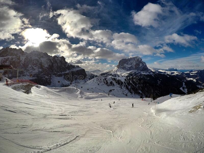 Skiing in Dolomites stock image