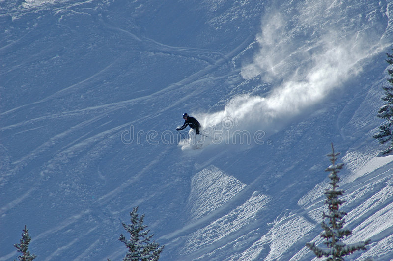 Download Skiing down in the powder stock photo. Image of fast, tracks - 467458