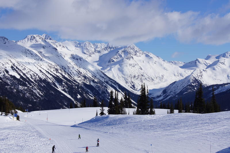 Skiing down Whistler mountain stock photos