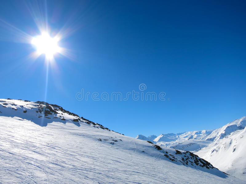 Skiing in the French alps. Les Sybelles ski slopes in France stock photo
