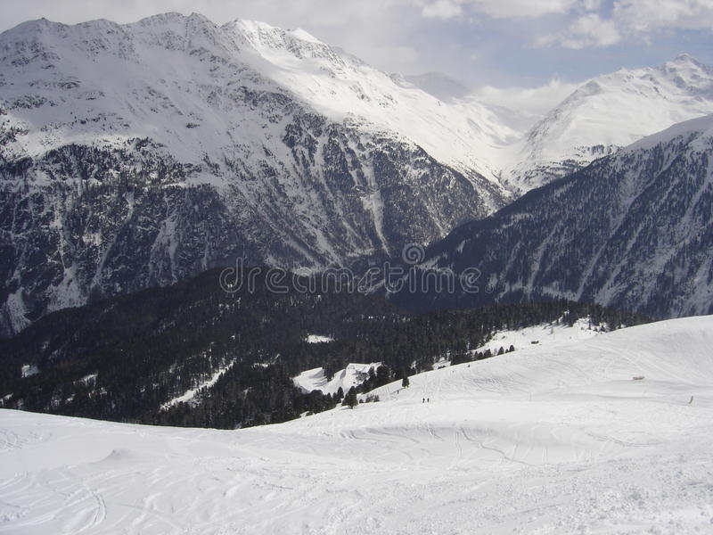 Skiing in French Alps royalty free stock image