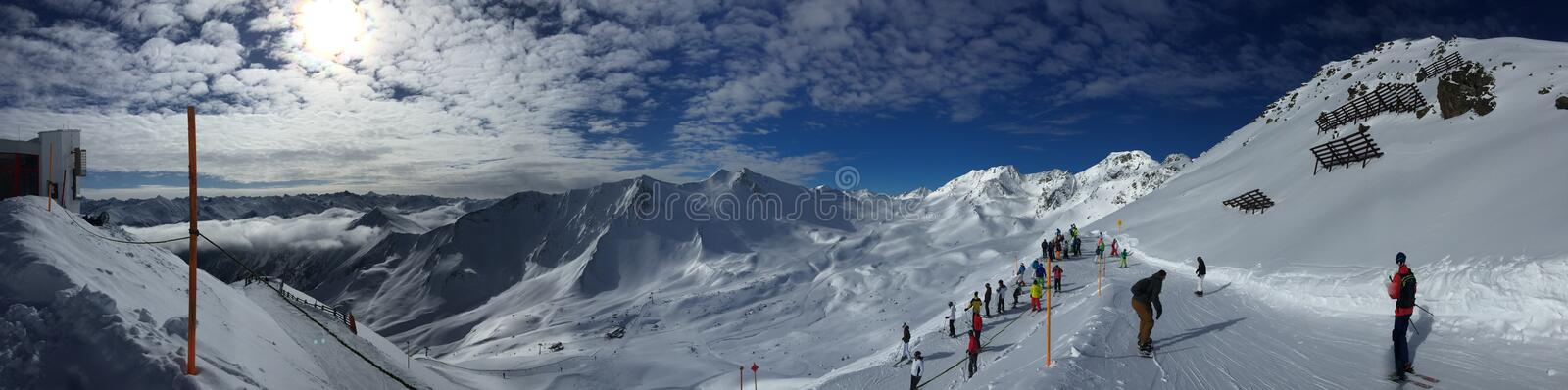 Skiing in heaven royalty free stock photo