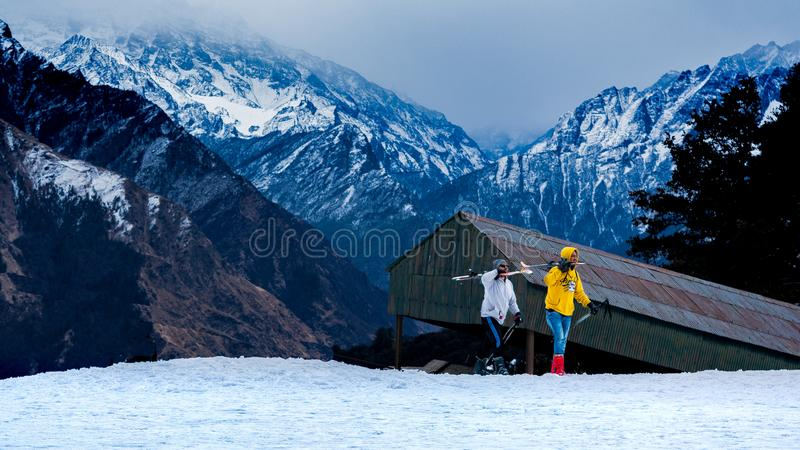 Skiing in Indian Himalayas royalty free stock photos