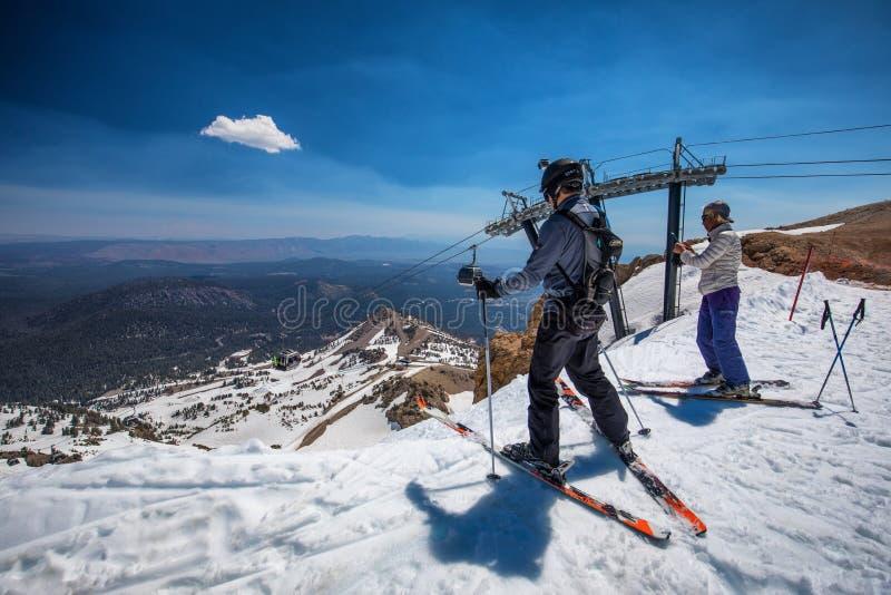 Skiing on Mammoth mountain. People skiing on Mammoth mountain, Sierra Nevada range, California royalty free stock photos