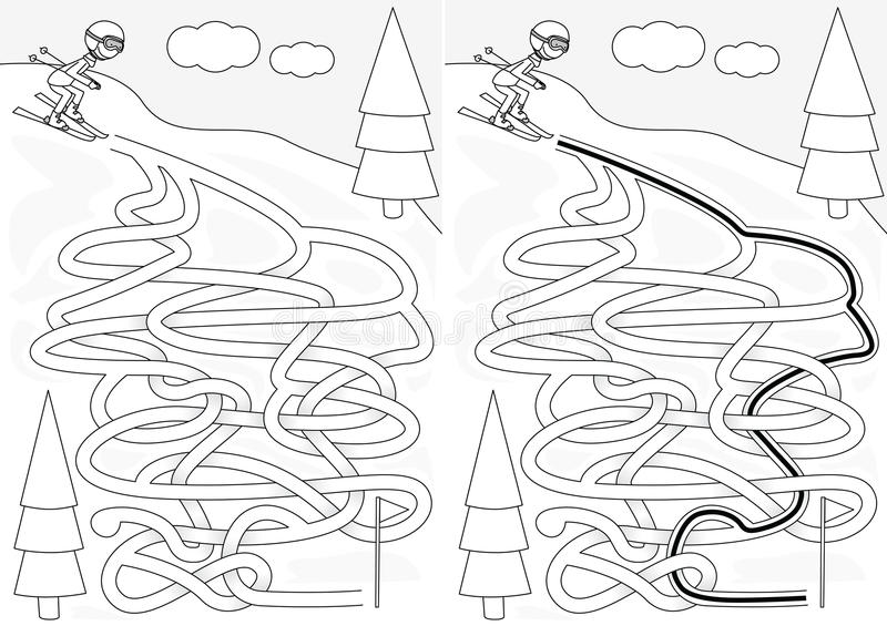 Skiing maze. For kids with a solution in black and white vector illustration