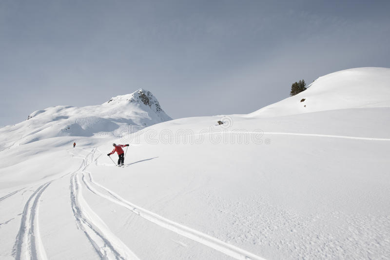 Skiing, men off piste stock photography