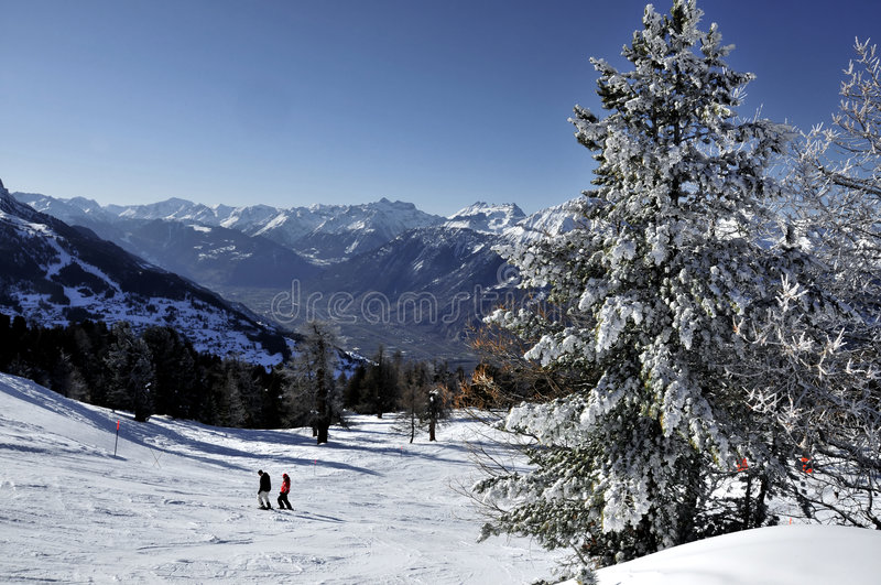 Skiing in Nendaz Switzerland stock photos