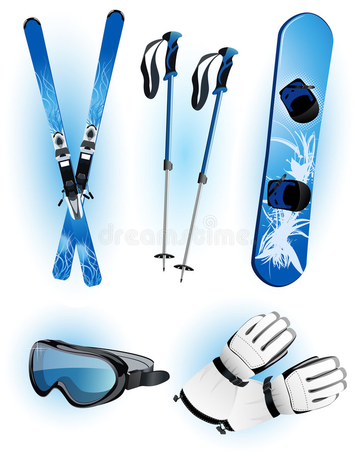 Download Skiing objects stock vector. Illustration of white, object - 7077873