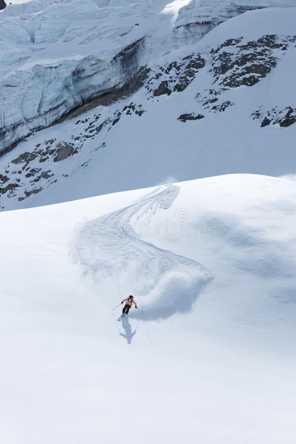 Free Skiing On Glacier In Fantastic Landscape Stock Photos - 159513453