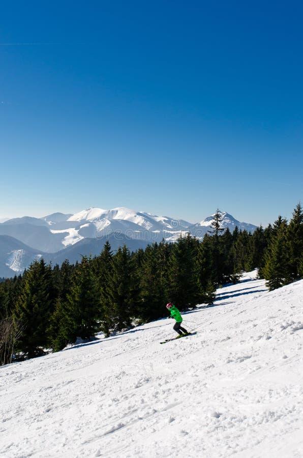 Skiing park Kubinska Hola, Travel destination for winter vacations. Skiing park Kubinska Hola, Orava, Slovakia. Chair lift and view from the ski slopes on snow stock photos